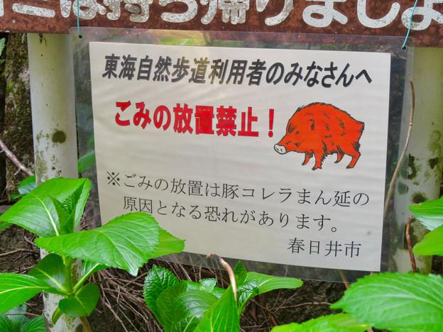 東海自然歩道 春日井コース - 6:豚コレラ関連でゴミの放置禁止の案内
