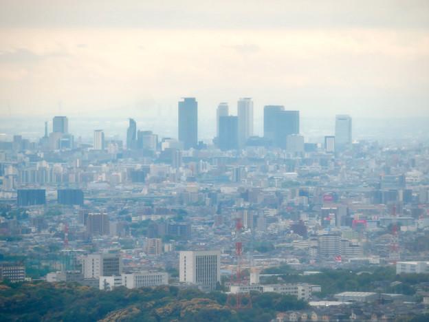 Photos: 弥勒山の登山道にある休憩所から見た景色 - 9:名駅ビル群