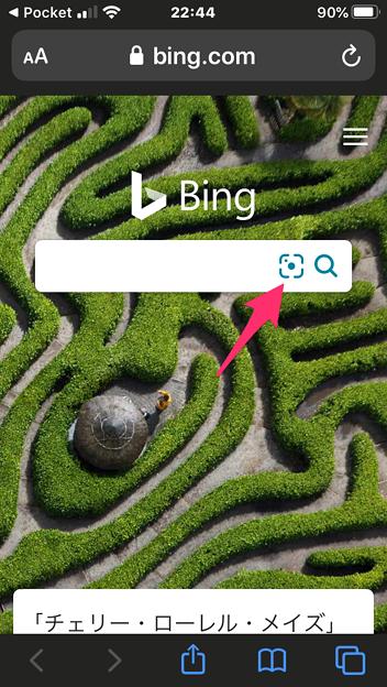 Photos: Bing画像検索でカメラや画像使って検索 - 1:検索窓のこの部分タップでカメラや画像検索