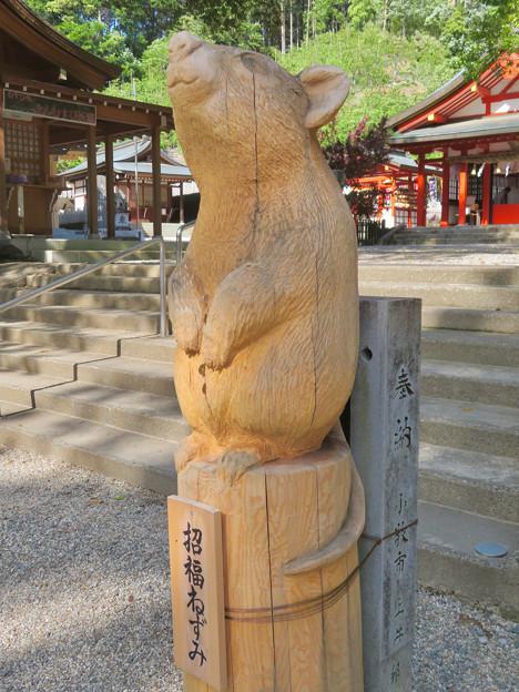 大縣神社境内に置かれてたチェーンソーアートのネズミ像「招福ねずみ」