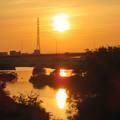 沈む夕日と庄内川