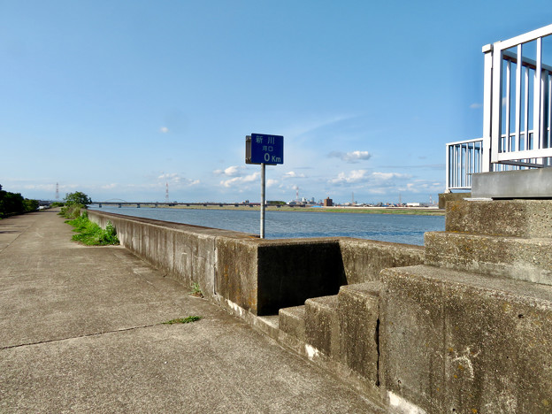 新川河口「0km」地点 - 1