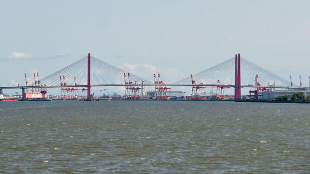 藤前活動センター前から見た名港トリトン:名港西大橋