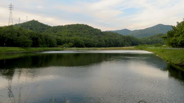 宮滝大池から見た西高森山と弥勒山、大谷山