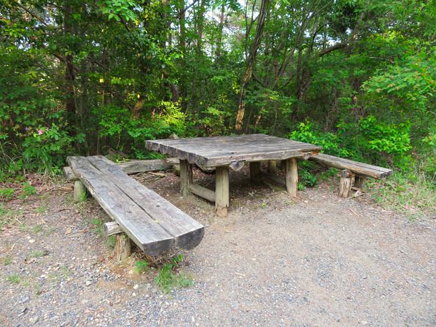 西高森山登山道:東海自然歩道春日井コース No.4 の分かれ道近くにあるベンチ