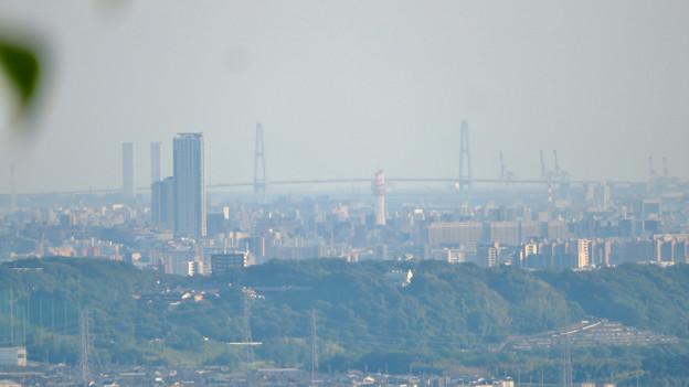 西高森山の山頂から見た景色 - 9:名古屋港の新名古屋火力発電所と名港中央大橋