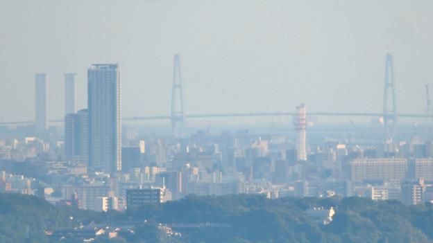 西高森山の山頂から見た景色 - 10:名古屋港の新名古屋火力発電所と名港中央大橋