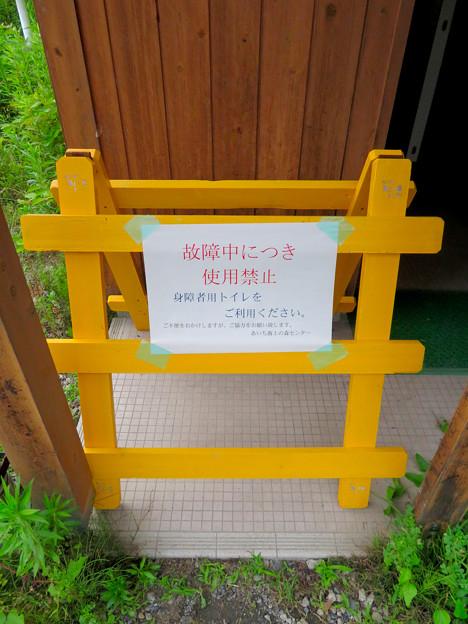 海上の森 - 123:1番入り口駐車スペースにあるトイレ(故障で使用不可)