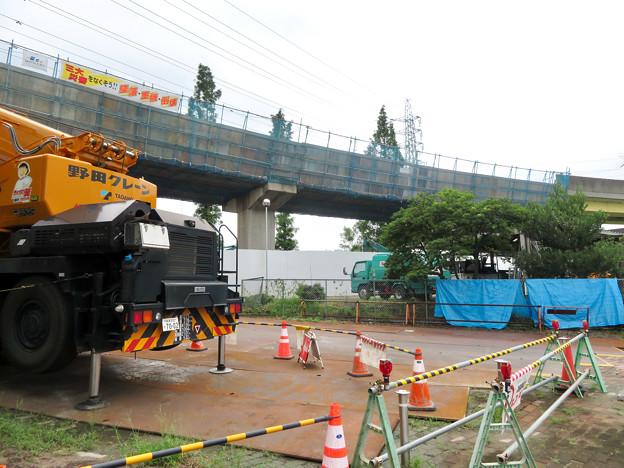 桃花台線の国道155号立体交差手前の高架撤去工事(2020年7月10日) - 4