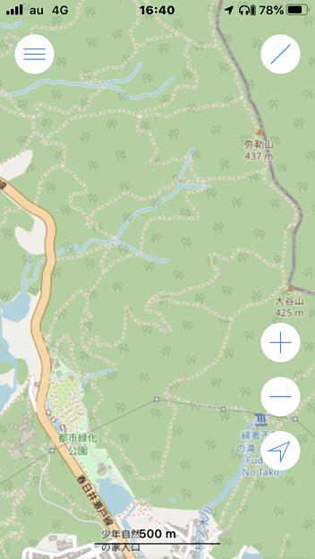 OpenStreetMapが使えるシンプルな地図アプリ「OSMaps」- 1:弥勒山や大谷山の登山道