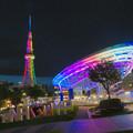 カラフルな名古屋テレビ塔とオアシス21のイルミネーション - 3