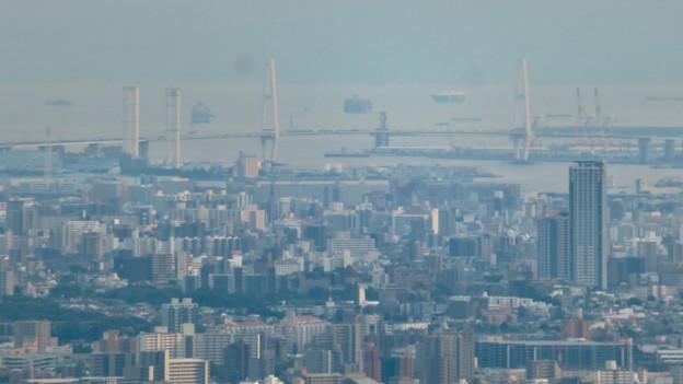 弥勒山山頂から見た景色 - 11:名港中央大橋と新名古屋火力発電所