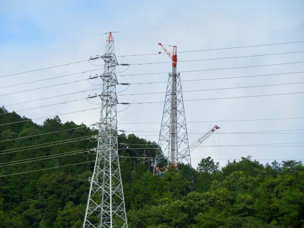尾張白山に建設中のリニア中央新幹線関連の送電線鉄塔 - 1