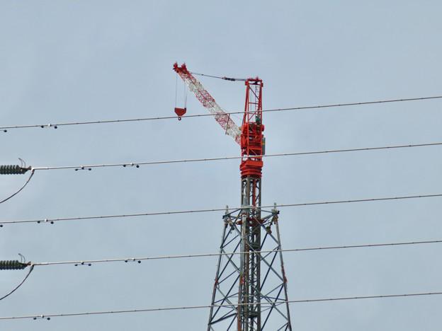 尾張白山に建設中のリニア中央新幹線関連の送電線鉄塔 - 2