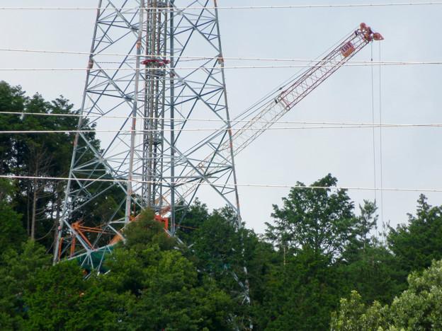 尾張白山に建設中のリニア中央新幹線関連の送電線鉄塔 - 3