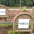 平池緑地 - 3:平池南公園(池に降りる口に設けられてる柵)