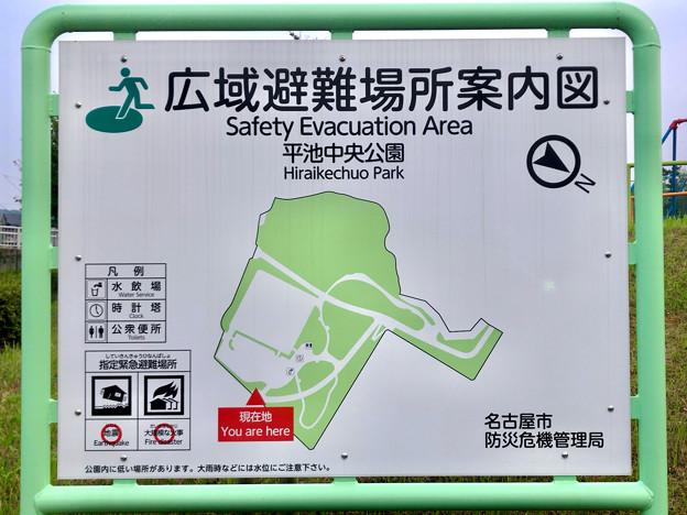 平池緑地 - 18:平池中央公園(広域避難場所案内図)