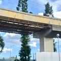 桃花台線の国道155号立体交差手前の高架撤去工事(2020年8月12日)- 2