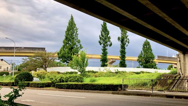 桃花台線の国道155号立体交差手前の高架撤去工事(2020年8月22日)- 2