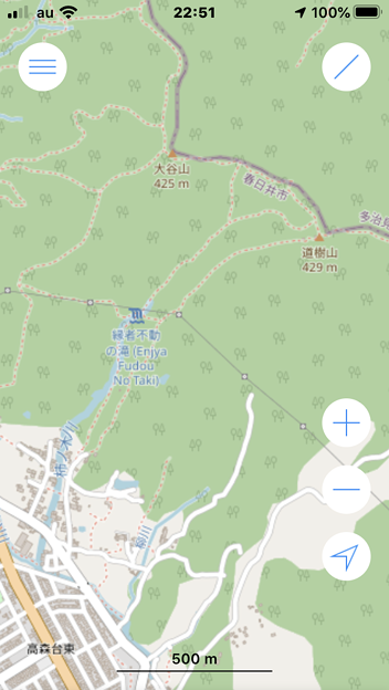 OpenStreetMap:道樹山と縁者不動の滝 - 1