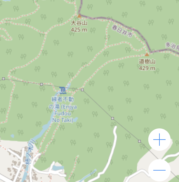 OpenStreetMap:道樹山と縁者不動の滝 - 2