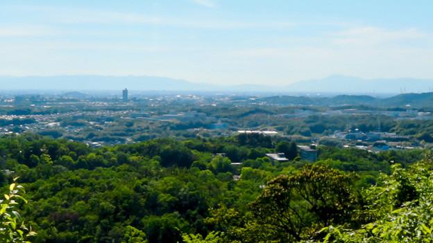西高森山頂上から見た景色:小牧山とスカイステージ33、伊吹山