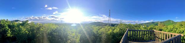 春日井市少年自然の家「野外教育センター」展望台から見た景色のパノラマ写真 - 3:高森山~西高森山~春日井三山