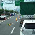 Photos: 東名高速 小牧JCT~小牧インター間で起きていたワゴン車の横転事故(2020年9月) - 2