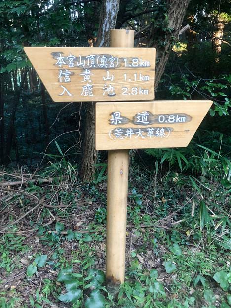 尾張信貴山 泉浄院 No - 6:本宮山方面への分かれ道(案内板)