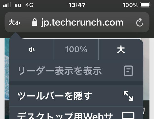 iOS 14.2のSafari:文字の大きさ変更が「大小」に