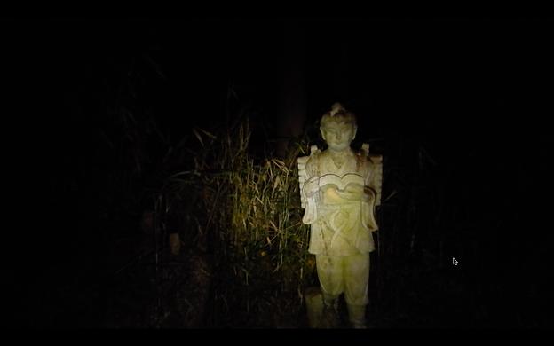 道樹山の登山道:夜はとっても不気味な二宮金次郎像