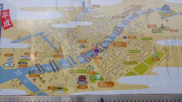 堀川沿いにある「平成 堀川散策絵巻」- 2:地図