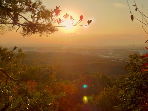 弥勒山の遊歩道 No.27~35の間にある眺めの良い場所 - 3:夕日と西高森山