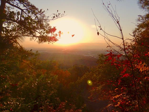 弥勒山の遊歩道 No.27~35の間にある眺めの良い場所 - 4:夕日と西高森山