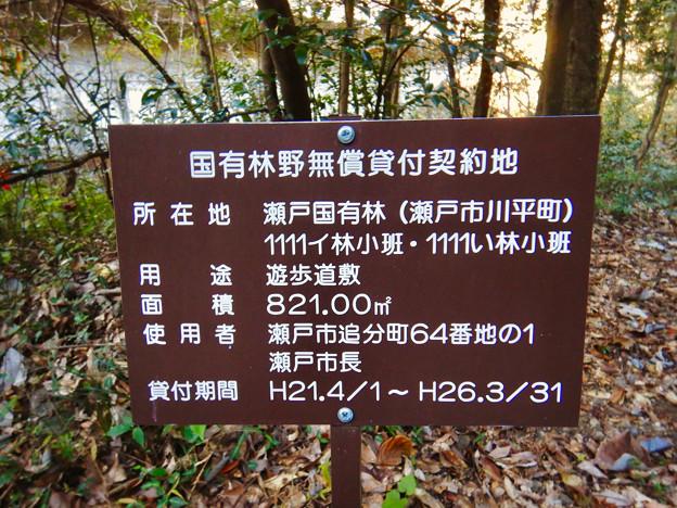 定光寺川沿いの東海自然歩道に立てられていた「国有林無償貸付契約地」の立て札 - 2