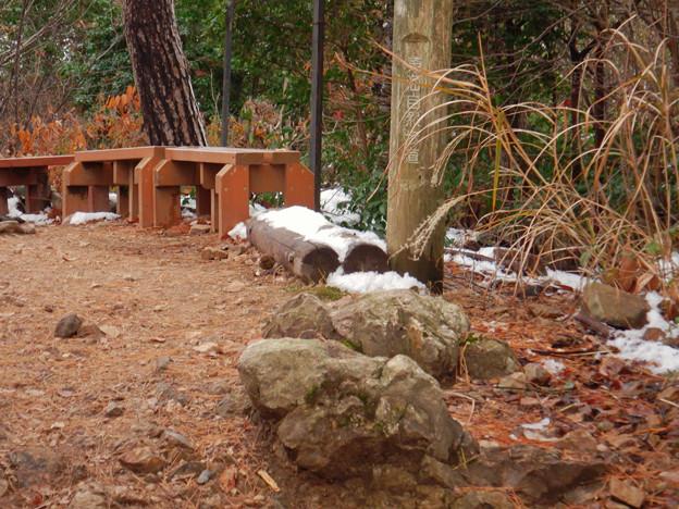 雪が残る弥勒山山頂
