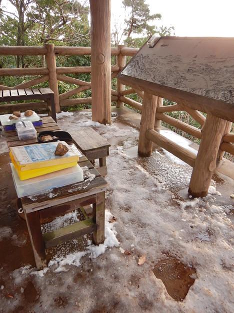 雪が残る弥勒山山頂の展望台 - 1