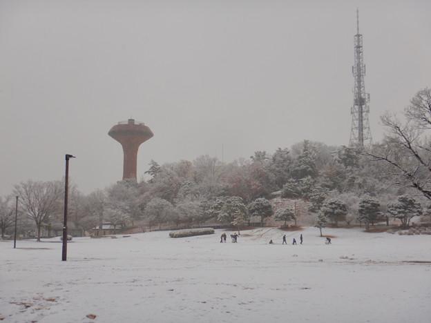 雪が薄っすら積もった2020年大晦日の桃花台中央公園 - 1