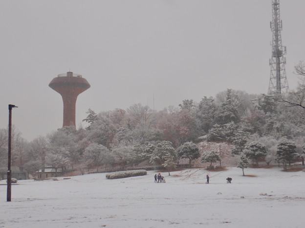 雪が薄っすら積もった2020年大晦日の桃花台中央公園 - 2