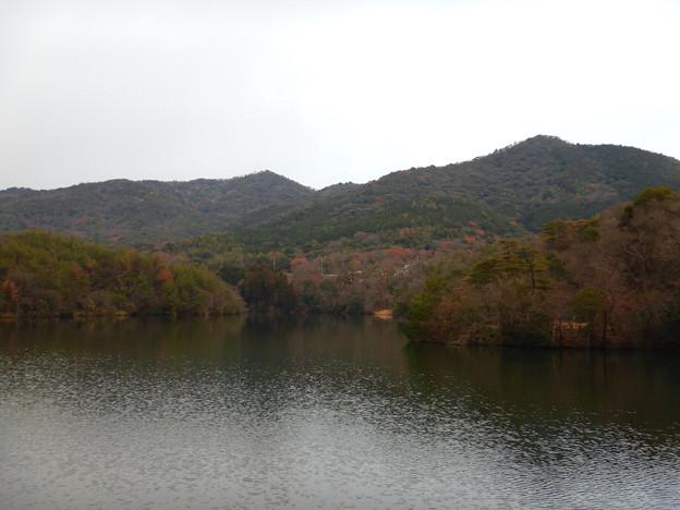 築水池沿いから見た冬の大谷山と弥勒山