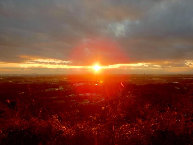 西高森山山頂から見た夕日 -  1