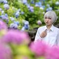 紫陽花と花梨ちゃん
