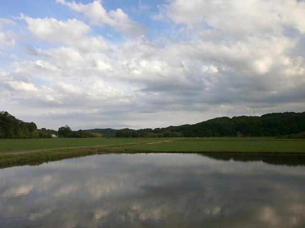 雲空を映す田園