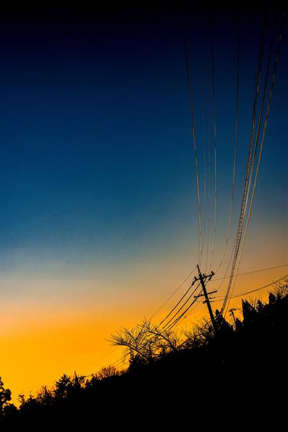 夕暮れの電線