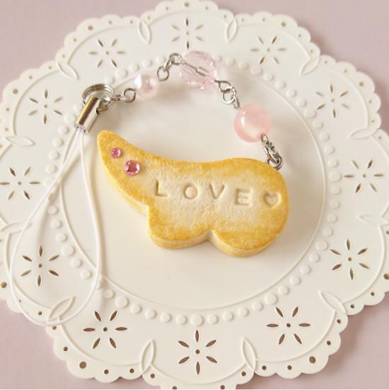 n005ストラップ/羽型クッキー&ビーズ/ピンク