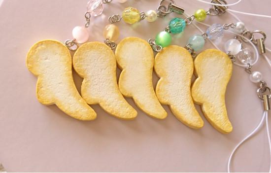 n001-005uraストラップ/羽型クッキー&ビーズ
