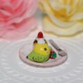 Photos: n011ミニチュア/いちごカップケーキプレート/セキセイ・グリーン(横1)