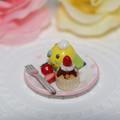 Photos: n011ミニチュア/いちごカップケーキプレート/セキセイ・グリーン(横2)