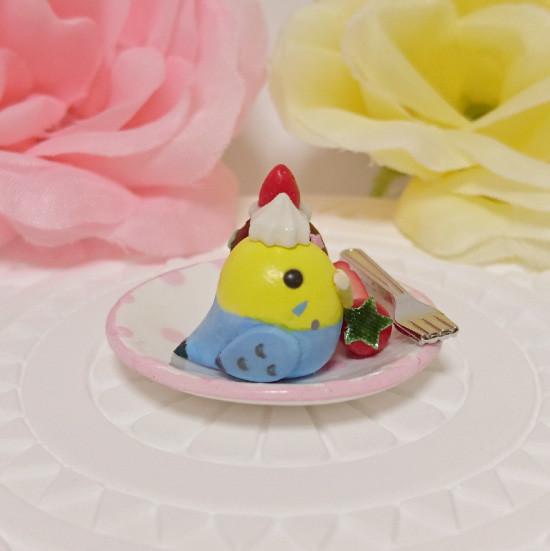 n015ミニチュア/いちごカップケーキプレート/セキセイ・レインボー(横1)