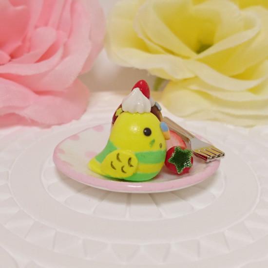n017ミニチュア/いちごカップケーキプレート/セキセイ・パイドグリーン(横1)